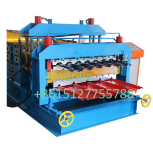 double layer machine 300x300 - Trapezoidal shape and step tile roofing sheet machine