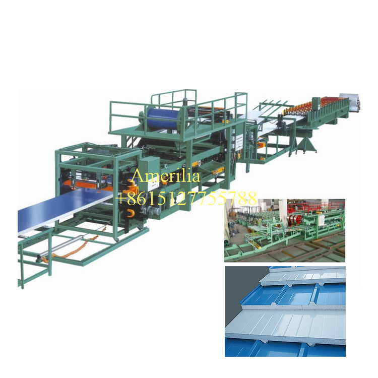 Automatic sandwich panel production line - steel roofing machine